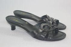 Cole Haan Black Leather High Heeled Slide Sandals  7 B #ColeHaan #Toesandal