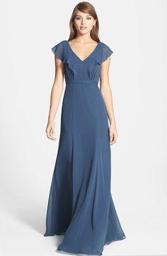 Jenny Yoo Cecilia Ruffled Chiffon Long Dress Wedding Bridesmaid Evening Blue #JennyYoo #Maxi #Casual