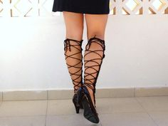 Leg warmers crochet black sexy nude shoes  laced up by Lasunka, €29.00