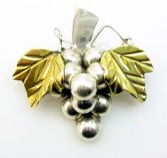 Vintage Hallmarked Mexican Sterling Silver Grapes  Leaf Brooch Pendant from E Vintage on Ruby Lane