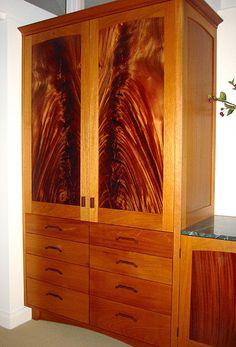 Garfield residence, built in dresser – Honduras mahogany, crotch figured mahogany, cocobolo.  Robert Ortiz Studios