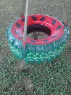 Painted tire swing
