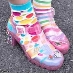 jujufootwear:  @elleanor1222spotted by @tokyofashion in her amazing customized @cassetteplaya #JuJuJellies!