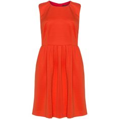 Manon Baptiste Orange Plus Size Fitted waist jersey dress (1990 MAD) ❤ liked on Polyvore featuring dresses, orange, plus size, sleeveless jersey, striped dress, knee length summer dresses, red jersey and plus size summer dresses