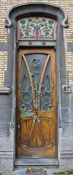 Art Nouveau door at Blvd Gnéral Jacques 97 Brussels, Germany. Cool Doors, Unique Doors, The Doors, Entrance Doors, Doorway, Windows And Doors, Garden Entrance, Front Doors, Knobs And Knockers