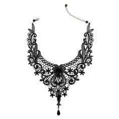Yantu Neuer Frühling Retro Schwarz Spitze-Kragen Halskette Gothic Lolita reizvollen edlen Kristall Blumen Tassel Kette f¨¹r Frauen: Amazon.de: Schmuck