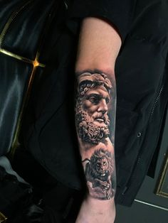 Hercules Greek Mythology Tattoo by Teo. Limited Availability at Salvation Tattoo Studio. Cow Skull Tattoos, Lion Forearm Tattoos, God Tattoos, Tattoos For Guys, Mens Tattoos, Lion Tattoo Sleeves, Best Sleeve Tattoos, Tattoo Sleeve Designs, Greek Mythology Tattoos