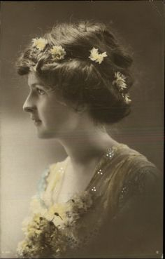 Pretty Girl Side Portrait Yellow Flowers in Hair Tinted Real Photo c1910 PC | eBay