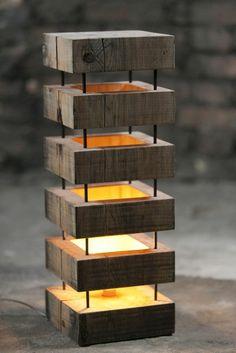 Floor lamp made of wood interesting model