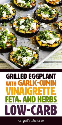 Even if you think you aren't an eggplant fan, PLEASE try this low-carb Grilled Eggplant with Garlic-Cumin Vinaigrette, Feta, and Herbs! Grilled Eggplant is so much better than cooking it any other way and this is absolutely delicious! Garlic Recipes, Vegetable Recipes, Keto Recipes, Vegetarian Recipes, Cooking Recipes, Healthy Recipes, Vegetarian Times, Vegetarian Grilling, Vegetarian Lunch