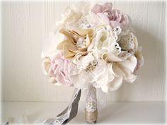 Alternative wedding bouquet, Rustic chic weddings, Fabric flower bouquet, Bridal brooch bouquet. £150.00, via Etsy.