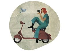 Scooter // Woman // Bird - Illustration by Andrew Lyons, via Behance