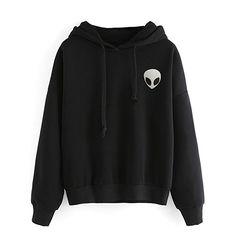 YuanYan Sweat-shirt Col Rond Imprimé Alien Manche Longue Manteau Top Manteau de Hoodie