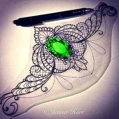 Gem birthstone sternum tattoo peridot