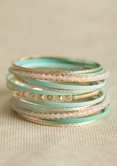 aqua and gold bangle set | elfsacks