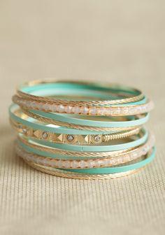 aqua and gold bangle set | elfsacks