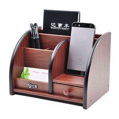 Wooden High-grade multifunctional Desk Stationery Organizer Storage Box Pen Pencil Box Holder Case Brown