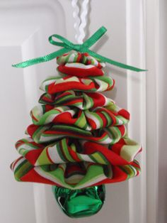 Green RedWhite Stripe Christmas Print Yo Yo Jingle by SursyShop, $6.00