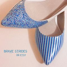 Custom Hand Painted Patterned Shoes Choose Your Colours. Unique shoes. Bridal Shoes. I paint your shoes! by BraveStrides  #somethingblue #handpainted #IWannaWearBrave