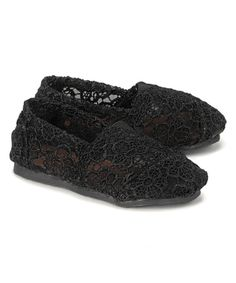 This Shoes of Soul Black Allover Crochet Slip-On Shoe by Shoes of Soul is perfect! #zulilyfinds
