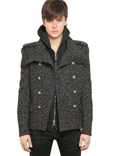 BALMAIN Gray Wool Tweed Pea Coat - Lyst