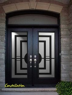 Double Front Entry Doors, Iron Front Door, Double Doors Exterior, Front Door Design Wood, Grill Door Design, Door Gate Design, House Main Gates Design, Main Door Design, Contemporary Front Doors