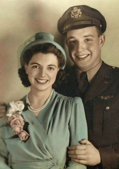 Did you ever see two people look so radiant? The bride is gorgeous in her simple green dress and corsage, and the young man is just beaming with pride in this simple wartime wedding.