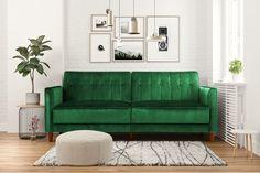 BOHO STYLE: The Green Velvet Sofa, 6+ Stylish Options - Hey, Djangles. Living Room Green, Living Room Sofa, Living Room Furniture, Modern Furniture, Living Spaces, Modern Sofa, Green Velvet Sofa, Green Sofa, Pink Sofa