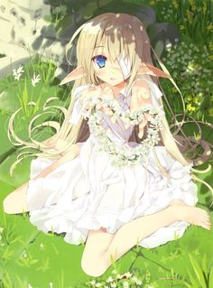 This anime elf girl looks adorable in her white dress. The flowers are a lovely detail as well.
