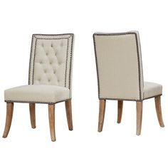 Garrett Beige Linen Dining Chair Set of 2 - TOV-D2046Description :Handmade by skilled furniture craftsmenColor : BeigeLeg Color : Weathered OakProduct Material : LinenDimensions :Chair : 21.5