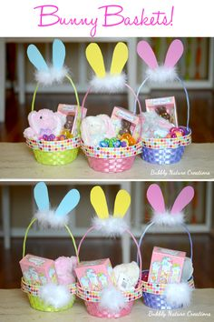 Bunny Baskets!  {Easter Craft Ideas} These little bunny baskets are so cute and are a frugal gift idea for Easter!  Transform a plain basket into a bunny basket!!!