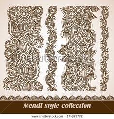 Vector set of floral pattern seamless borders, indian ornament, henna style - stock vector