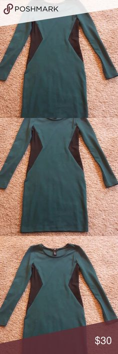 H&M Forest Green Black BodyCon Dress XS Like New Very Beautiful  Bust 15in Length 34in Forest Green H&M Dresses Mini