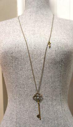 Long Skeleton Key Necklace Antique Bronze Brass by LinksLocks, $20.00