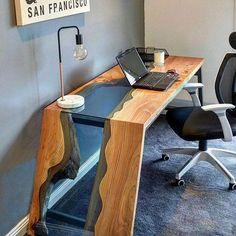 Who wants this in their office? By @wildaboutwood. . . #woodworkforall #dowoodworking #woodwork #woodworking #wood #woodturning #woodporn #glass #river #kitchentable #rusticdecor #rustic #crafting #table #likesforlikes #like4like #ryobination #rigidnation (Office Furniture Designs)