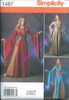 Game of Thrones Inspired Dress Sewing Pattern Simplicity 1487 UNCUT Sizes 14-16-18-20-22 Medieval Gown Sansa Cersei