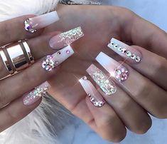 home decorhome decor - Summer Acrylic Nails Swarovski Nails, Crystal Nails, Rhinestone Nails, Swarovski Crystals, Glam Nails, Bling Nails, My Nails, Bling Nail Art, Bling Wedding Nails