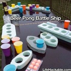 For your summer BBQ: Make a game of beer pong battle ship created out of styrofoam. | 37 Ridiculously Awesome Things To Do In Your Backyard This Summer
