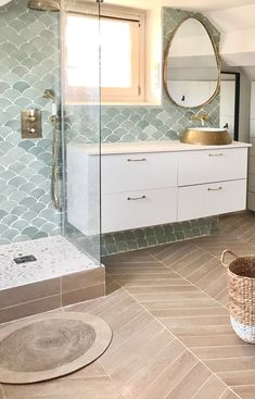 Black And White Tiles Bathroom, White Bathroom Tiles, Bathroom Renos, Small Bathroom, Boho Bathroom, Bathroom Feature Wall Tile, Gold Bathroom Faucet, Widespread Bathroom Faucet, Bathroom Faucets