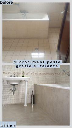 Poate ca va doriti renovare sau amenajare?  ...renovarea bailor cu microciment ( se aplica direct peste gresia existenta, durata execuție 4 zile)  ...renovarea pardoselii acoperită cu gresie, nu mai este necesară demontarea ei și aplicarea sapei ulterioare.  #microciment Alcove, Bathtub, Bathroom, Modern, Standing Bath, Washroom, Bathtubs, Trendy Tree, Bath Tube
