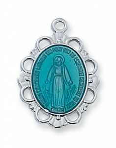 Necklaces and Pendants : Blue Miraculous Medal Necklace