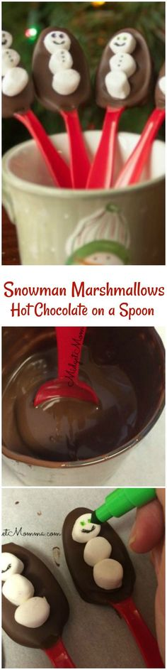 hot chocolate bar These snowman hot chocolate spoons are a fun way to turn a warm mug milk to yummy hot chocolate. Just place the spoon into a cup of warm milk and stir. Hot Chocolate Gifts, Christmas Hot Chocolate, Chocolate Spoons, Homemade Hot Chocolate, Hot Chocolate Bars, Hot Chocolate Recipes, Chocolate Diy, Chocolate Quotes, Chocolate Ganache