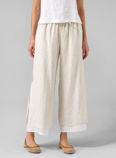 (Tall Size) Linen Double-Layer Cropped Pants With Sea Shell Button