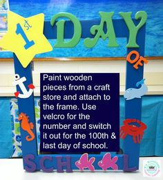 Ocean themed classroom- 1st day of school frame for each student to take a picture with.