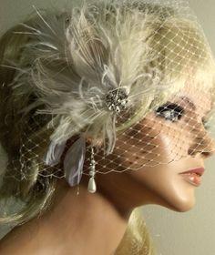 Wedding Bridal fascinator Birdcage bandeau bridal by kathyjohnson3