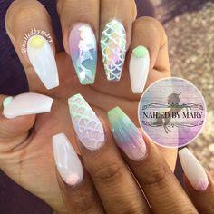 Disney little mermaid under the sea shells chrome cute rainbow pastel acrylic powder nails 3D art