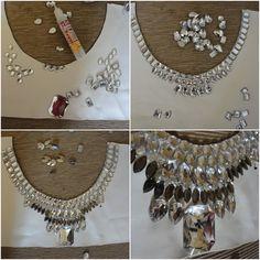 diy collar necklace white rhinestones glue pattern