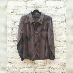 Womens Shirt Tie Dye Studded Khaki & Black Shirt Tumblr Boho Hippie Festival to fit UK size 12 US size 8