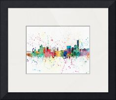 """""""Manchester England Skyline"""" by Michael Tompsett, Castellon // Watercolor art print of the skyline of Manchester, England, United Kingdom // Imagekind.com -- Buy stunning fine art prints, framed prints and canvas prints directly from independent working artists and photographers."""