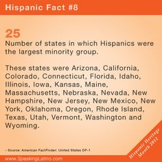 HISPANIC FACT 8 | 25 is the number of states in which Hispanics were the largest minority group.  Speaking Latino celebrates the Hispanic Heritage Month. #Hispanic #Latino via http://www.speakinglatino.com/15-facts-about-hispanics-in-the-united-states-for-hispanic-heritage-month/